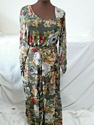 Bila Green Floral Long Sleeve Maxi Dress Lined Rayon with Sheer Sleeves Size M $19.95