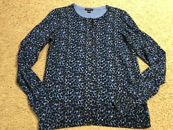 ANN TAYLOR Blue Black Design Casual Button Cardigan Sweater Top womens size XS $12.97