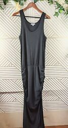 Standard James Perse Black Maxi Dress Ruched Gathered Stomach Size 4 Sleeveless $45.00