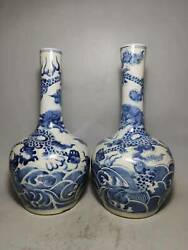 Chinese Blue and white Porcelain Handmad a pair Dragon pattern Vase 50086 $222.49