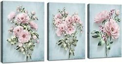 Pink Flower Canvas Wall Art for Bedroom Woman Wall Decor Floral Picture Painting $45.49