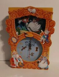 Mother Goose Story Time Clock WORKS Fold Out 3D Quartz Time Fairy Tale Moon Cat $19.00
