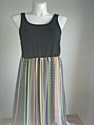 Joe B Black Striped Scoop Neckline Sleeveless Maxi Dress Plus 1X 2X $15.00