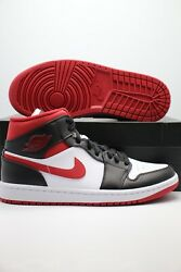 Nike Air Jordan 1 Mid Metallic Gym Red Black White 554724 122 Men#x27;s GS PS Sizes $159.97