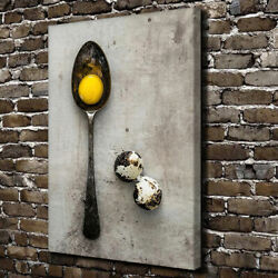 Spoon with Eggs Poster Retro Kitchen Canvas Prints Painting Wall Art for Decor $18.00