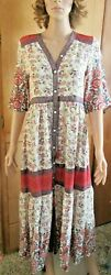FP To Love boho dress size S mixed floral pattern silky maxi go by measurements $20.00