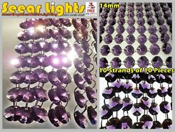 100 CHANDELIER PURPLE GLASS 14mm CRYSTALS 2m GARLAND WEDDING DROPLETS BEADS GBP 23.99