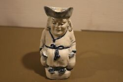 RARE Antique Antique Gesch Deposé Blue amp; White Man Merchant 5quot; $42.74