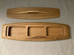 Mid Century Modern Hand Carved Hardwood Sere Wood Divided Box Case Dish Japan $34.99