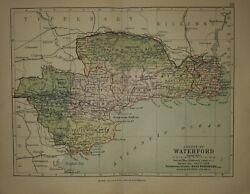 1897 County Waterford antique map. Munster Province. Ireland. 124 yrs old. 1222 GBP 14.00