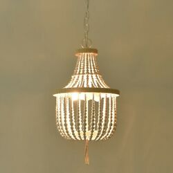 French Country Chandelier White Wood Beaded Empire Pendant Light Fixture 2 Light $216.20