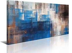 Blue Abstract Wall Art Canvas Print Picture for Living Room Large Blue Gray Home $60.86