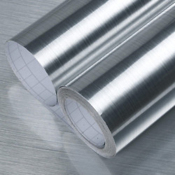 Brushed Silver Stainless Steel Wallpaper Removable Peel and Stick on Countertop $9.86