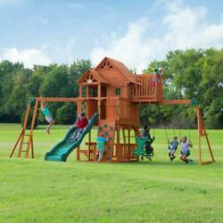 Wooden Swing Set Outdoor Backyard Fort Slide Climb Wall Kids Playset Playground $2616.99