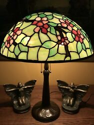 nr handel arts crafts leaded vintage slag glass antique lamp bradley hubbard era $1250.00