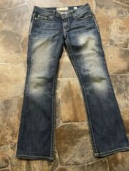 "BKE ""Payton"" Bootcut Womens Low Rise Distressed Denim Blue Jeans 27x30.5 Alt. $34.99"