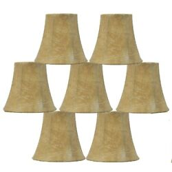 Lot Of 7 Urbanest Faux Leather Chandelier Lamp Shades: Clip On Bell Shaped $40.00