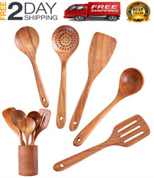 Wooden Cooking Utensils with HolderAcacia Wooden Slotted Spurtle Kitchen Sets $35.99