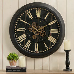 Glitzhome 27.5quot;D Farmhouse Oversized Wall Clock with Moving Gears Tempered Glass $83.99