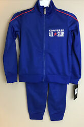 Converse All Star Boys Kids 2 Piece Track Suit Jacket Pants Blue Red Size 4 $29.50