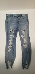American Eagle Womens High Rise Jeggings Ripped Jeans Size 10 X Short $25.00
