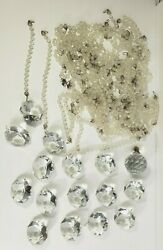 Vintage Chandelier Parts Large Lot Crystals Teardrop Diamond Shapes Beaded Chain $59.95