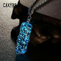 Luminous Crystal Cylindrical Pendant necklace Glow In The Dark charming Necklace $15.74