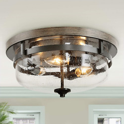 Flush Mount Ceiling Light Farmhouse Light Fixtures Ceiling with Faux Wood and $172.04