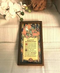 BUCKBEE BREHM FRAMED ART NOUVEAU quot;HAPPY BIRTHDAYquot; POEM 1925 $22.99