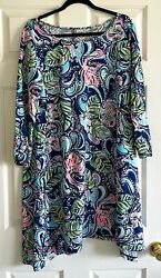 EUC LILLY PULITZER EDNA DRESS SWING FIT MULTI HANGING WITH FRONDS SZ XL BLUE $61.95