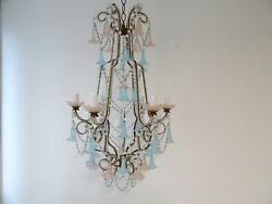 French Beaded Pink amp; Blue Bells Opaline Murano Chandelier Spear circa 1900 $5999.00