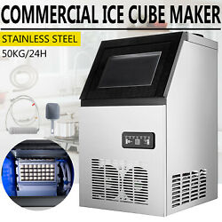 110LBS Built in Commercial Ice Maker Stainless Steel Restaurant Ice Cube Machine