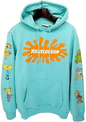 Mens Teal Blue Hoodie Nickelodeon Logo 90#x27;s Style Rugrats Reptar Graphic Print $49.95