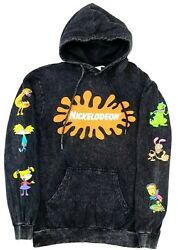 Mens Small Black Hoodie Nickelodeon Logo Retro 90#x27;s Style Rugrats Acid Washed S $49.95