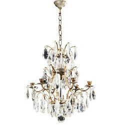 Antique 6 Arm Crystal Rococo Chandelier with different cut crystals 1900#x27;s GBP 1200.00