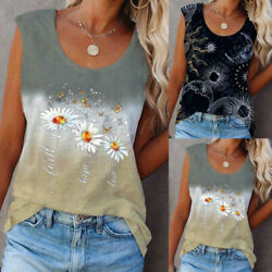 ❤️ Womens Floral Sleeveless Casual Shirts Vest Tops Summer Round Neck Blouse Tee $12.79