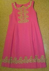 Girls Size 8 Lilly Pulitzer Dress Pink amp; Gold Nice $22.00