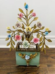 Antique French Porcelain Flowers Hollywood Regency Vintage Brass Lamp Basket $85.00