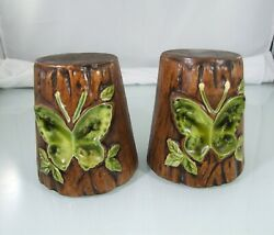 Vintage Tree Stump With Green Butterflies Salt And Pepper Shakers Retro $20.00