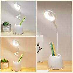 LED Desk Lamp Reading Light Table Flexible Dimmable Rechargeable Touch Control $15.39