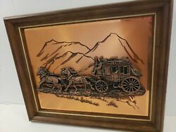 Vintage 3D Copper Stagecoach Horse amp;USA Wagon Framed Picture Artist John Louw $25.00