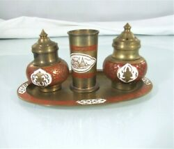 Vintage Oriental Brass Salt Pepper Shaker With Toothpick Holder amp; Tray $12.00