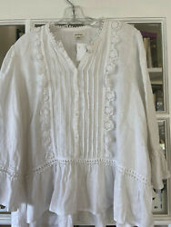 Women#x27;s White Linen Blend Blouse XL Ruffled 3 4 sleeves Boho Top blouse $17.00