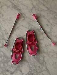 American Girl Brand Doll Clothing Pink Orange Snowshoes Poles $9.99
