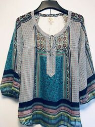 Anthropologie FIG and FLOWER Womens Top Blouse Sz XL Lace Floral Peasant Boho $23.00