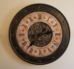 Large 2ft Wall Mounted Steampunk Gear Clock with working rotating gears feature $49.95