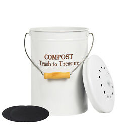 SQUEEZE master 1.3Gallon Stainless Steel Compost Bin with Lid for Kitchen Counte $26.99