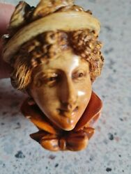 Antique Period Lady#x27;s Bust with Floral Bonnet Carved Meerschaum Cheroot Pipe GBP 39.00
