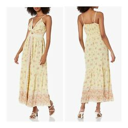 NWT Angie Keyhole Cut Out Yellow Smocked Floral Summer Sun Maxi Boho Dress S M L $42.99