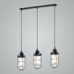 Wrought Iron Chandeliers Hanging LED Ceiling Pendant Light Cage Glass Fixture $79.99
